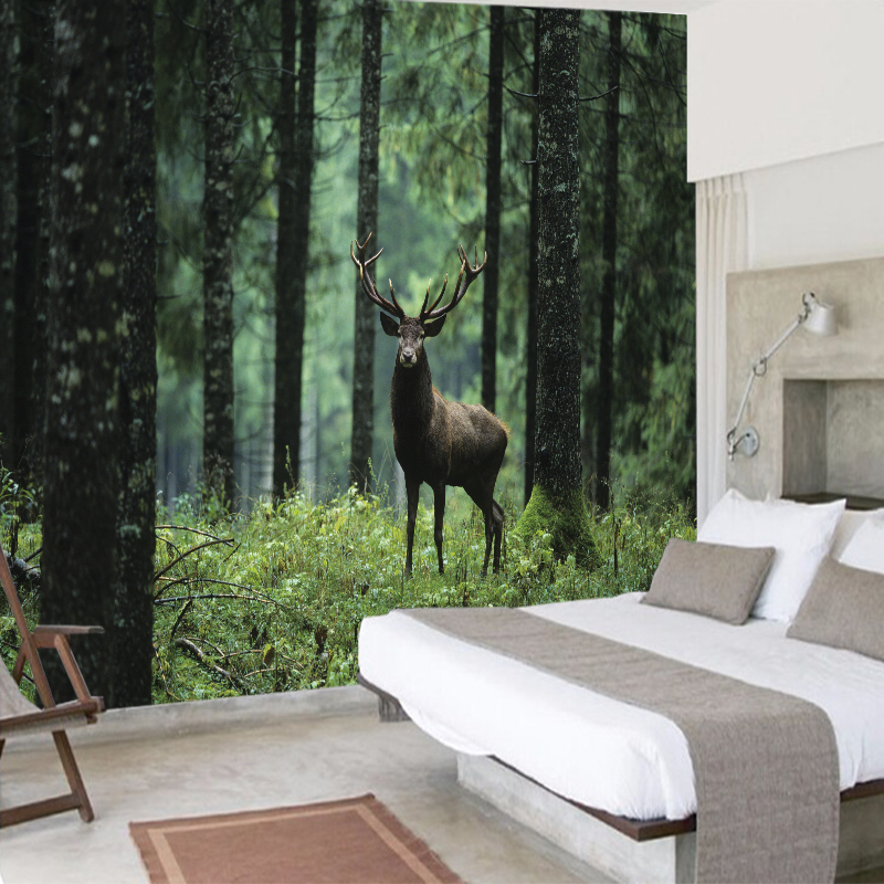 3D Creative Canvas Painting Forest Tree Deer Traditional Wallpaper Wall Pictures Art Print Poster Living Room Home Decoration forest floral deer print tapestry wall hanging art