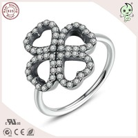 Hot Sale High Quality Fashion 925 Sterling Silver CZ Paving Four Clover Ring