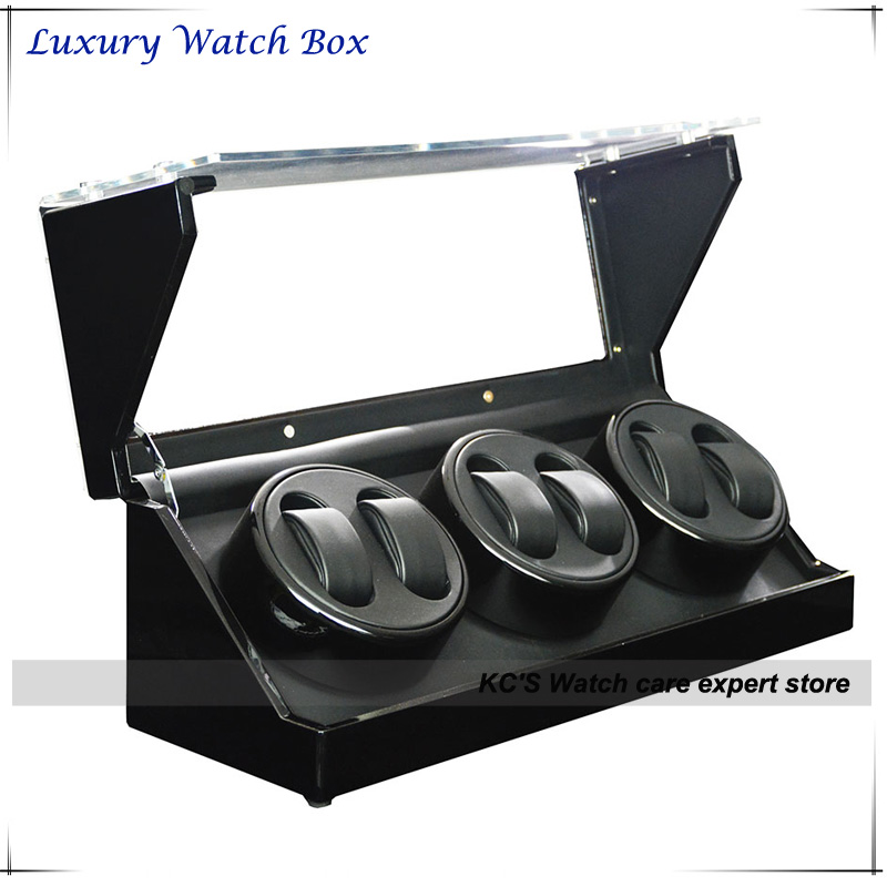 High Quality Handmade Automatic Watch Winder Watches 6 Watches Black with Clear Window Box GC03 D102BB