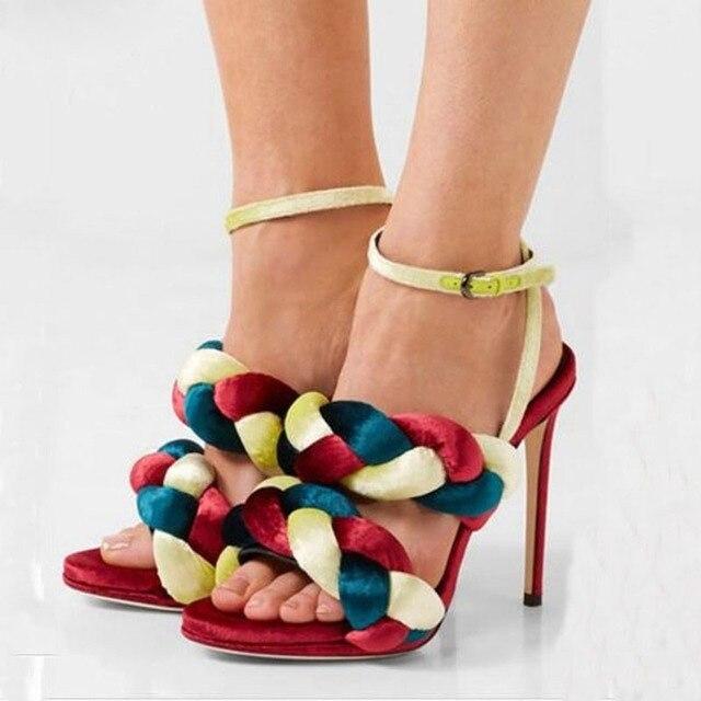 7d19a3036f1b Hot Woven Multi Velvet Twisted Ankle Strap Stiletto High-heel Gladiator  Women Sandalias Shoes Women