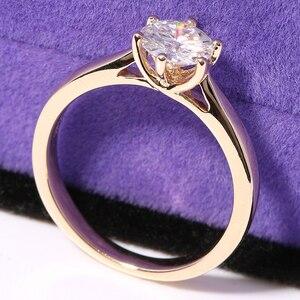 Image 3 - Transgems Solitaire Anello di Fidanzamento 14 k Oro Giallo 1 carat Diametro 6.5mm F Colore Moissanite Anello di Fidanzamento Per Le Donne da sposa