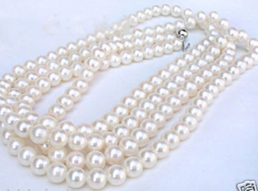"""Hot sale new Style >>>>>TOP ROUND 60"""" AAA 7-8MM white Seawater pearl necklace 14K Gold Clasp"""