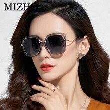 MIZHO 2019 Copper Oversized Butterfly Metal Sunglasses Women Polarized Gradient Eyewear Ladies Trendy Sun Glasses Clear Visual