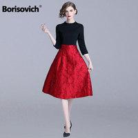 Borisovich Ladies Elegant Party Dress New Brand 2018 Autumn Fashion England Style Patchwork A line Women Casual Dresses N297