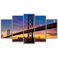 5 Panel San Francisco Oakland Bay Bridge Modern Pictures Wall Art Home Decoration Canvas Painting Pictures