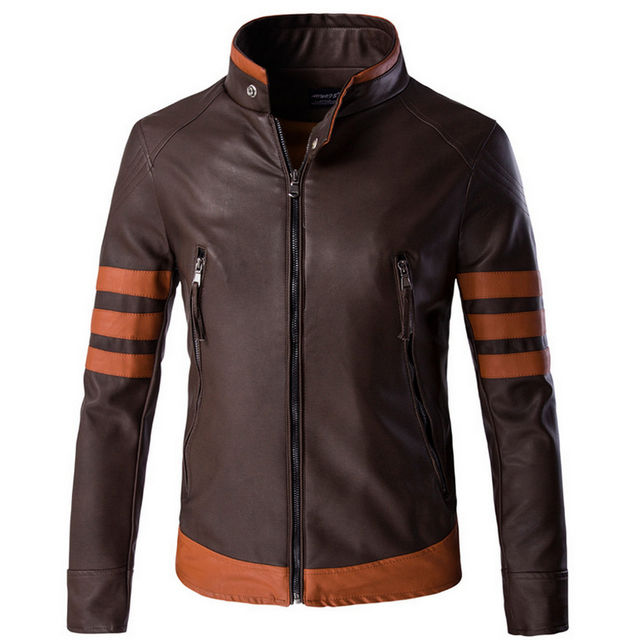 Горячая 2016 новые мужские из натуральной кожи стоять воротник кожаной куртки тонкий мужской натуральная кожа одежда верхняя одежда