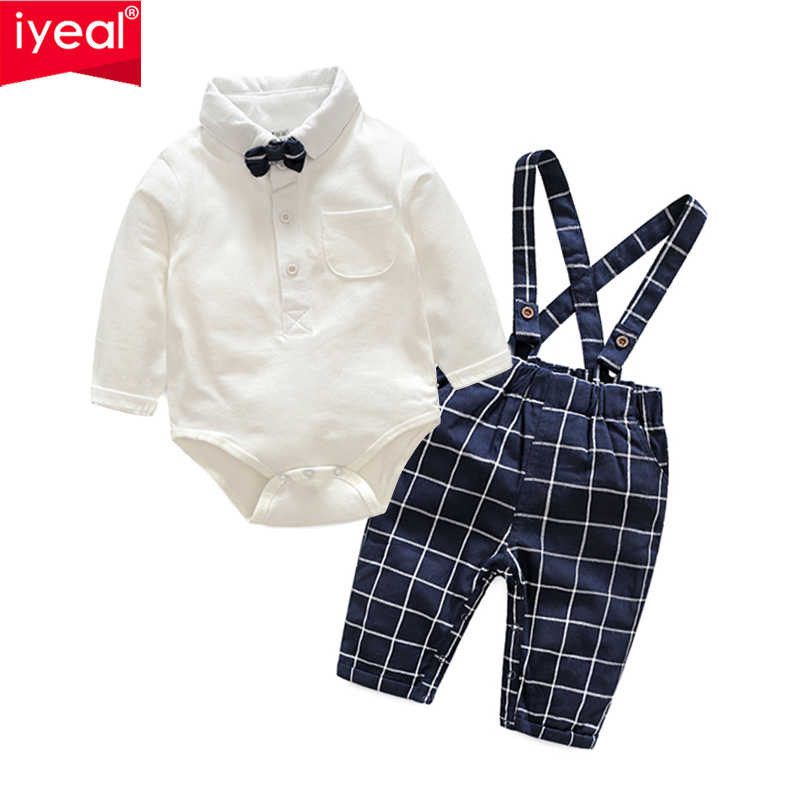 58b9086154240 IYEAL Baby Boys Clothes Sets Bow Ties Long Sleeve Bodysuit + Suspenders  Pants Toddler Boy Gentleman Outfits Suits(0-18Months)
