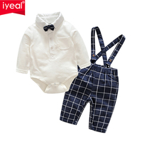 IYEAL Baby Boys Clothes Sets Bow Ties Long Sleeve Bodysuit + Suspenders Pants Toddler Boy Gentleman Outfits Suits(0 18Months)