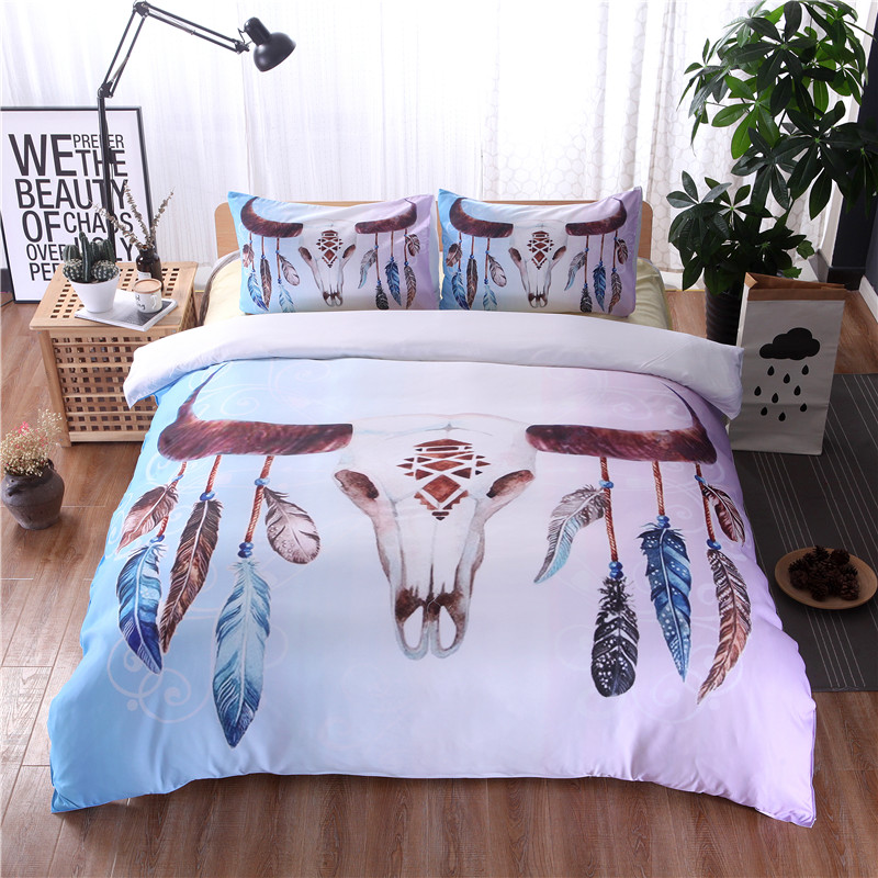 Bohemian Feather Skull Duvet Cover Set 2/3pcs Single Double Queen King Bedclothes Bed Linen Bedding Sets(No Sheet No Filling)