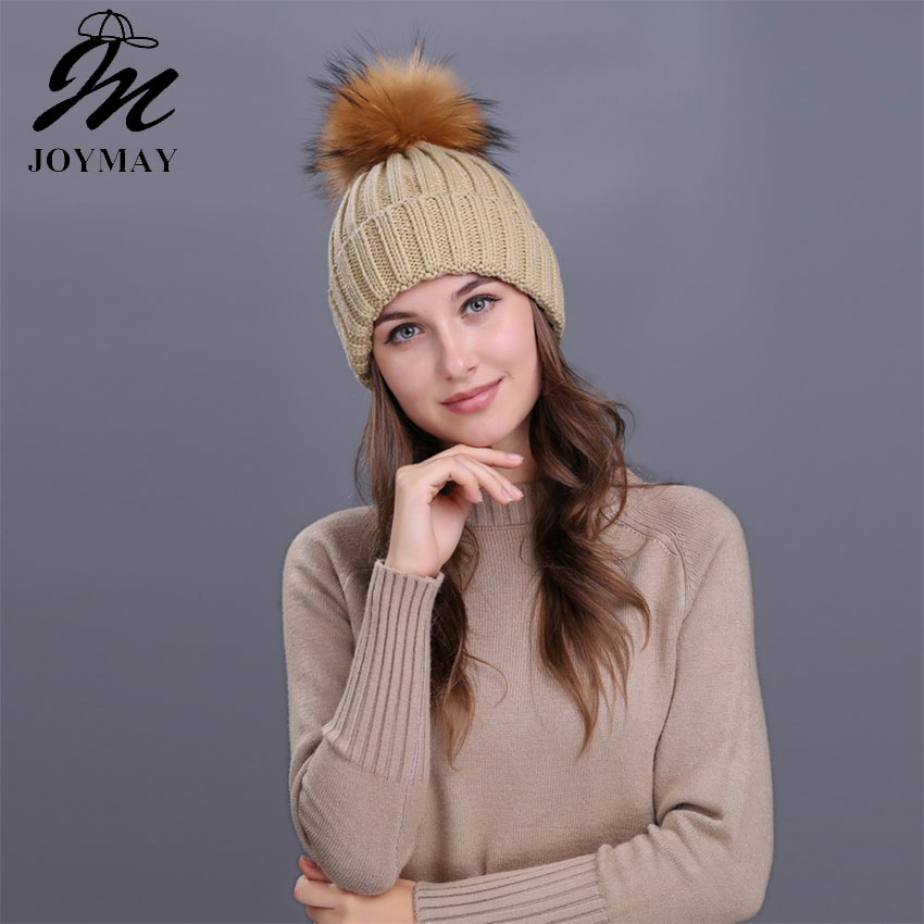 цены  Joymay 2017 Winter Pompom Beanies Solid Color Hat Lady Plain Warm Soft Skull Knitting Cap Hats Touca Gorro Caps For Women W225