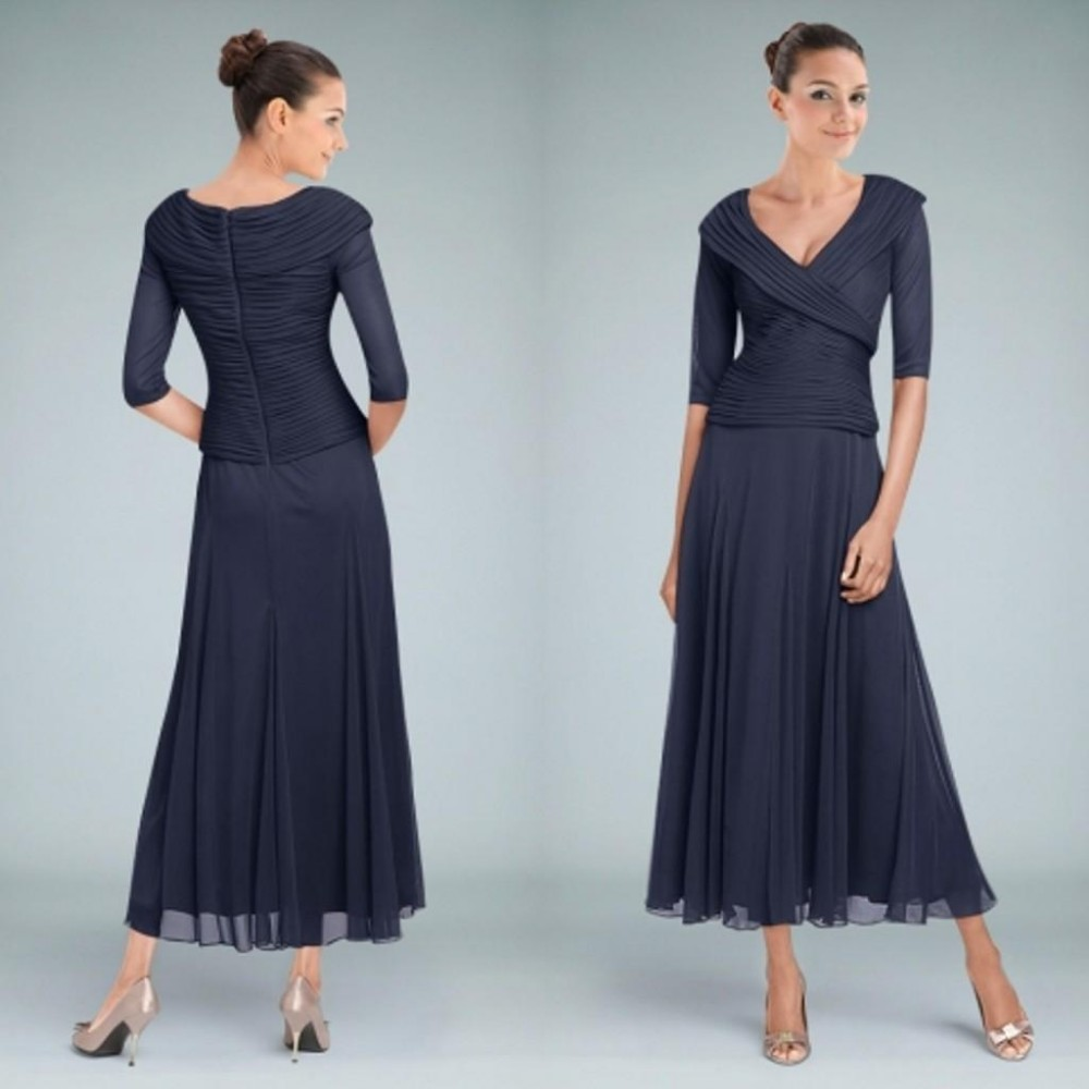 20Tea%20Length%20Mother%20of%20the%20Bride%20Dresses%20with%20Sleeve%20A-Line%20V%20Neck%20Ruched%20Chiffon%20Modest%20Groom%20Wedding%20Party%20Gowns