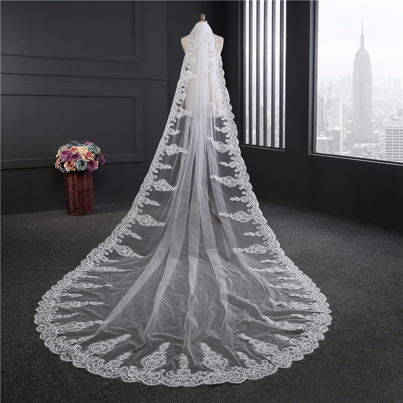 Promotion 3.5m Luxurious Wedding Veil 3.5 Meters Long Top Quality Cathedral Veil Ivory/White Color Crystal Wedding Accessories