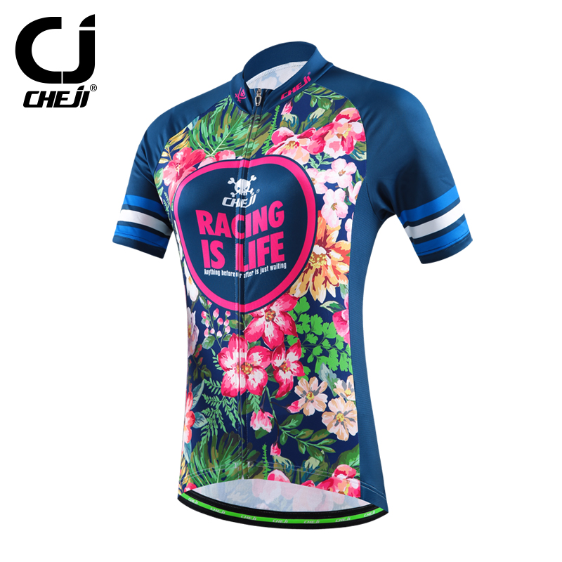 Цена за Cheji 2016 женщины джерси с коротким рукавом джерси глубокий голубой велосипед одежда для весна лето осень CC1538