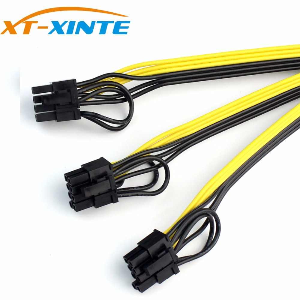 XT-XINTE אספקת חשמל כבל 6 + 2 פין כרטיס קו 1 כדי 3 6pin + 2pin מתאם כבל 12AWG + 18AWG ספליטר חוט עבור כורה כריית BTC