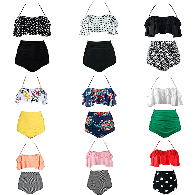 2017 New Bikinis Women Swimsuit High Waist Bathing Suit Plus Size Swimwear Push Up Bikini Set Vintage Beach Wear Biquini