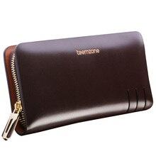 Teemzone-Vente Top Fashion Business Cuir Véritable Quotidien Hommes de Portefeuilles D'embrayage Mâle Embrayage Bourse Assez Grand pour Téléphone Portable J35