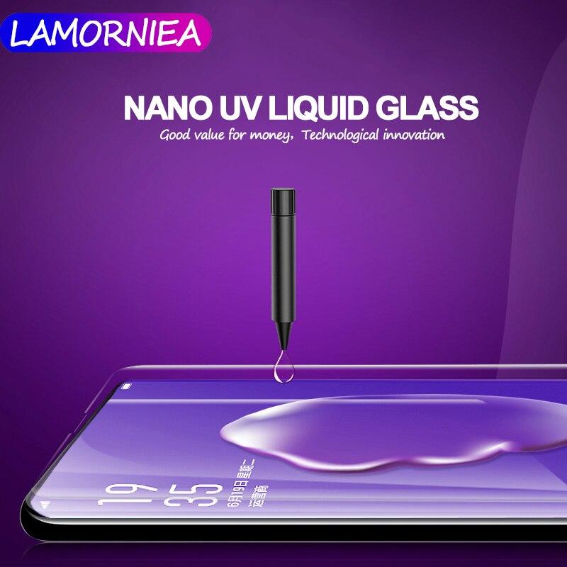 4 pcs UV Liquide Écran Protecteur Pour Samsung S8 S9 Plus Complet UV Colle En Verre Trempé Pour Samsung Galaxy Note 8 9 pour OPPO Trouver X