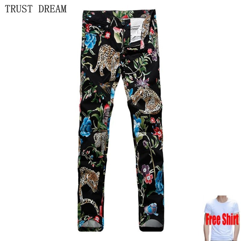 High Quality 2018 New European Fashion Men Floral Black   Jeans   Slim Print Flower Leopard Street Club Amazing Man Personal   Jeans
