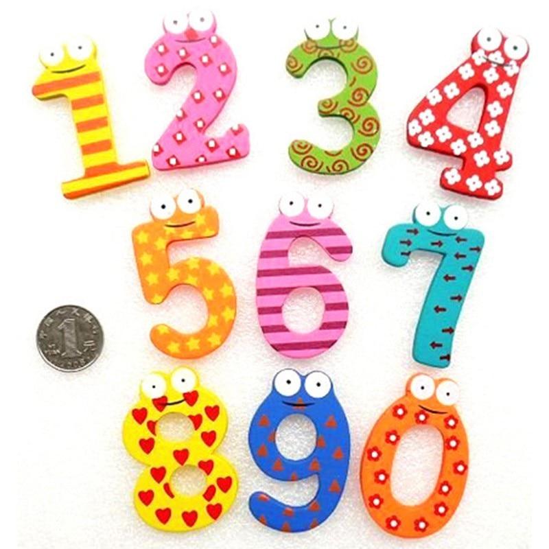 10 шт./компл. 10 номер большой мультфильм развивающие игрушки деревянный магнит на холодильник для маленьких детей образования Игрушечные ло...