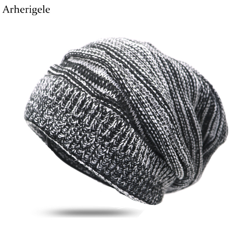 Arherigele Women Men Hat And Cap Autumn Winter Warm Knitted   Beanies   Female Baggy Oversized Slouch Striped Cap Hat Hip Hop Cap
