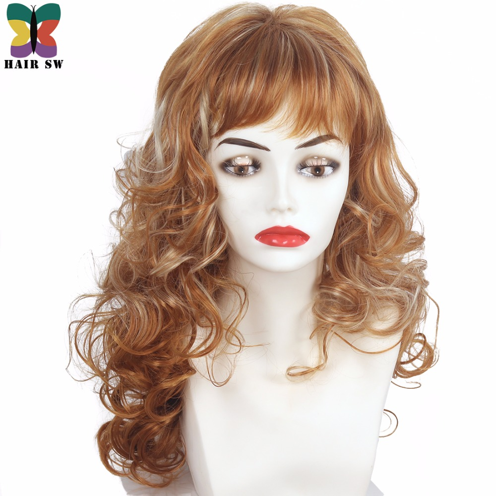 HAIR SW Long Curly Synthetic wig Reddish Brown mixed blonde Highlights layered With bangs for women ...