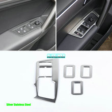 For Volkswagen VW Tiguan 2017 2018 Glass Switch Cover Trim Door Window Button Decoration Panel chrome Car-styling Accessories full window trim decoration strips for vw golf 7 2013 2017 stainless steel high quality chrome trim car styling