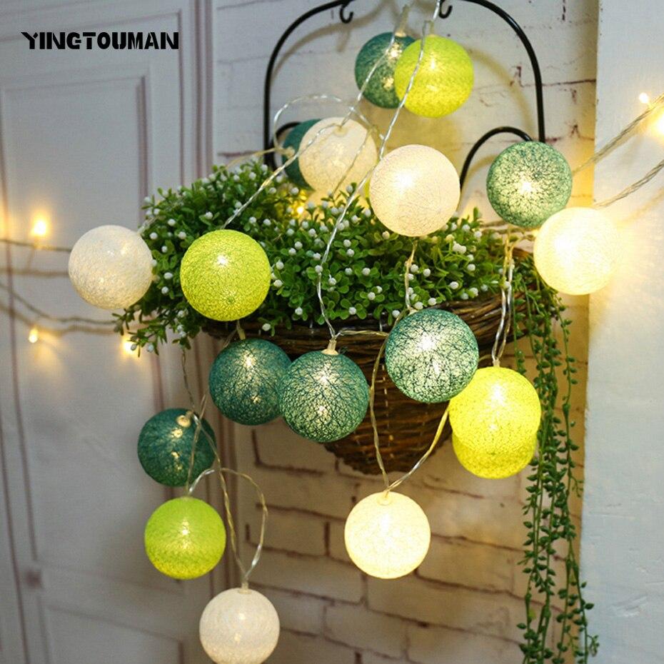 YINGTOUMANT Cotton Ball Lamp Battery Powered String Light Christmas Holiday Wedding Party Festival Decoration Lighting 3m 20LED
