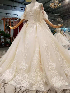 Image 4 - LSS402 detachable train wedding dresses with big bow spaghetti straps wedding gown with removable train back платье винтаж