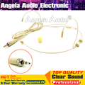 Beige 3.5 mm Stereo Plug Double Earhook Head-Mounted Mikrofon Headworn Mic Headset Microphone For Wireless BodyPack Transmitter