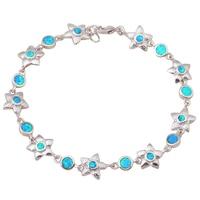 Super fournisseur Charme Bracelets pour femmes Bleu Opale de feu Timbre argent Mode Bijoux Bracelets Anniversaire cadeau OB007A