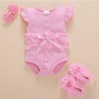 Çocuklar Bebek giysileri Dantel Tül Yay Sevimli Yenidoğan Tulum Pamuk Yaz Giyim Kıyafet Bebek Bebek Giyim Kombinezonlar Vücut Takım Elbise