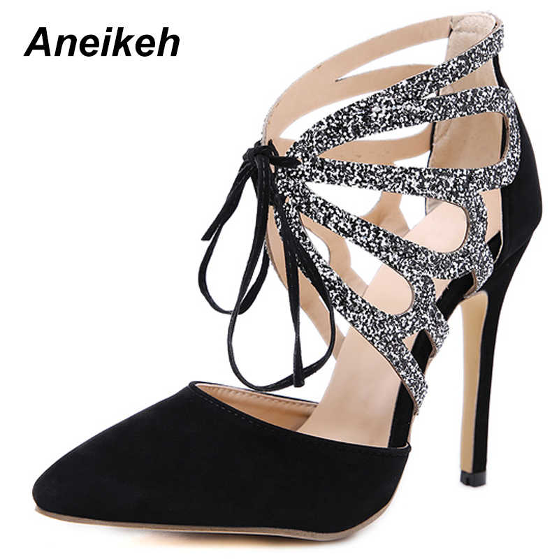 e38932fb6ff ... Aneikeh 2019 Summer Shoes Woman Pumps High Thin Heels Pointed Toes Rhinestone  Butterfly Bling Gladiator Pumps ...