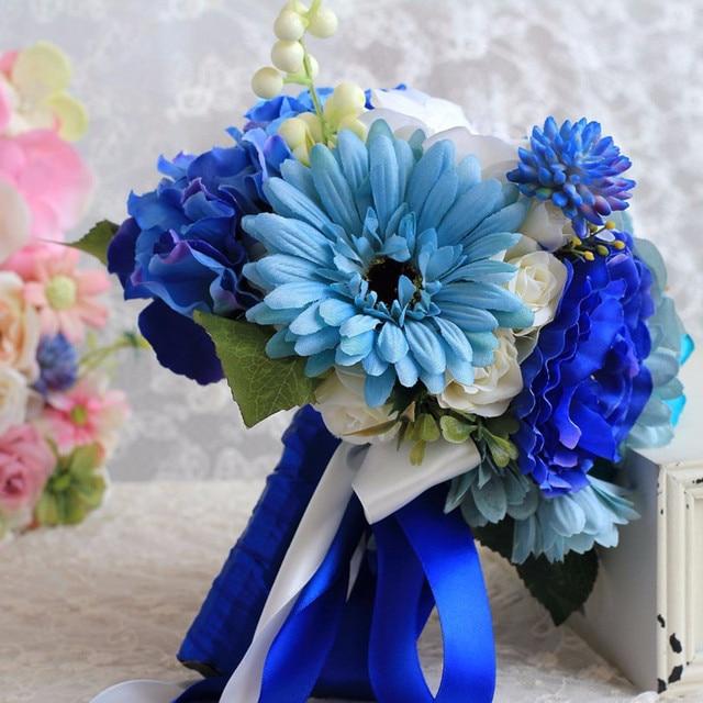 Beach Style White Blue Rose Wedding Bouquet Cheap Bridesmaid Bouquet De Noiva Artificia Wedding Bridal Holding Flowers