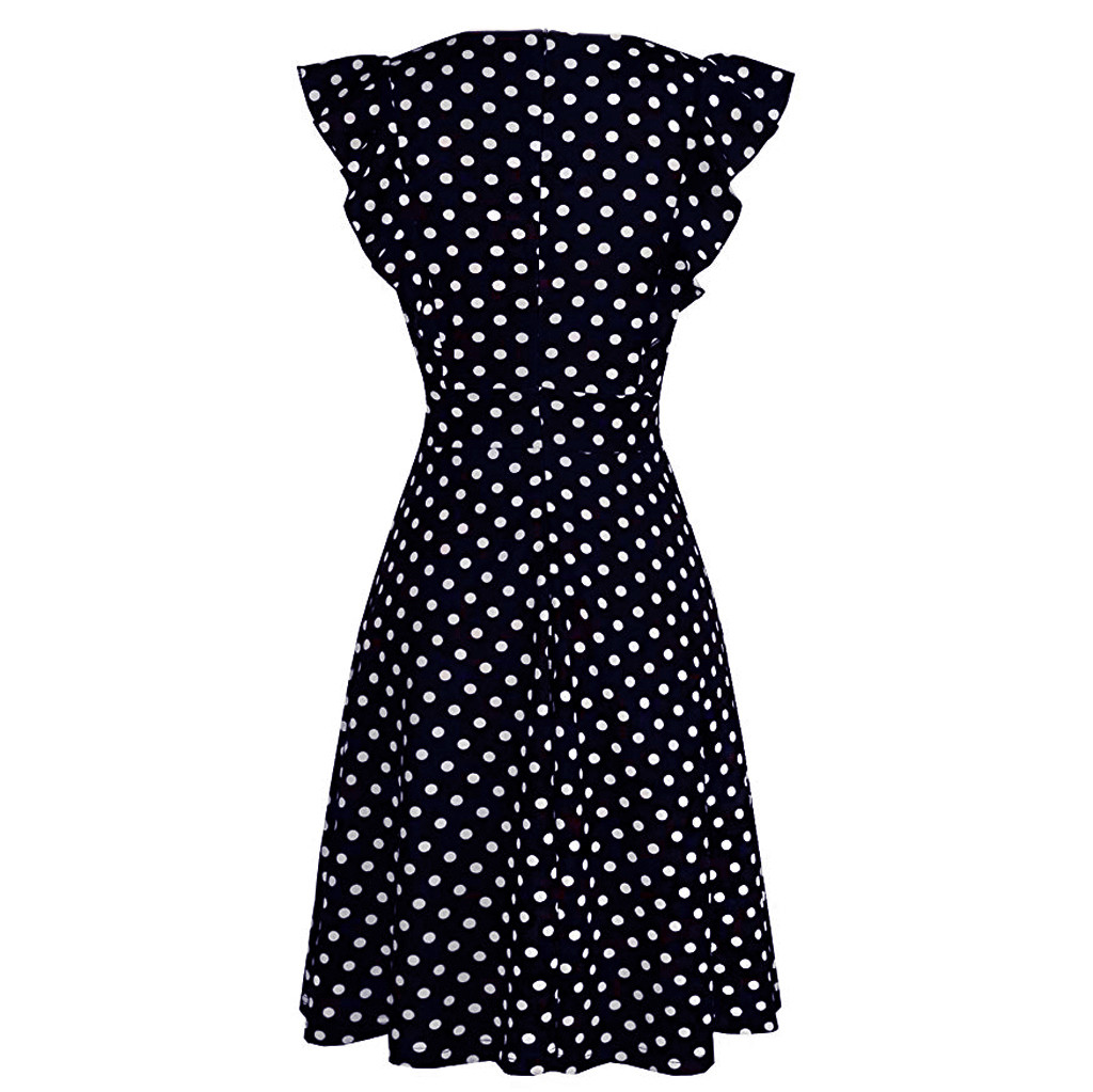 Sleeper #401 2019 NEW FASHION Women Vintage Dot Printed Ruffle Sleeveless Casual Cocktail Party Dresses casual hot Free Shipping