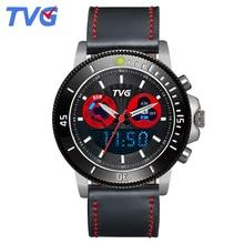 ТВГ 2016 мужские часы лучший бренд класса люкс кожаный кварцевые аналоговые часы водонепроницаемые нержавеющей стали циферблат спортивные повседневные для мужчин
