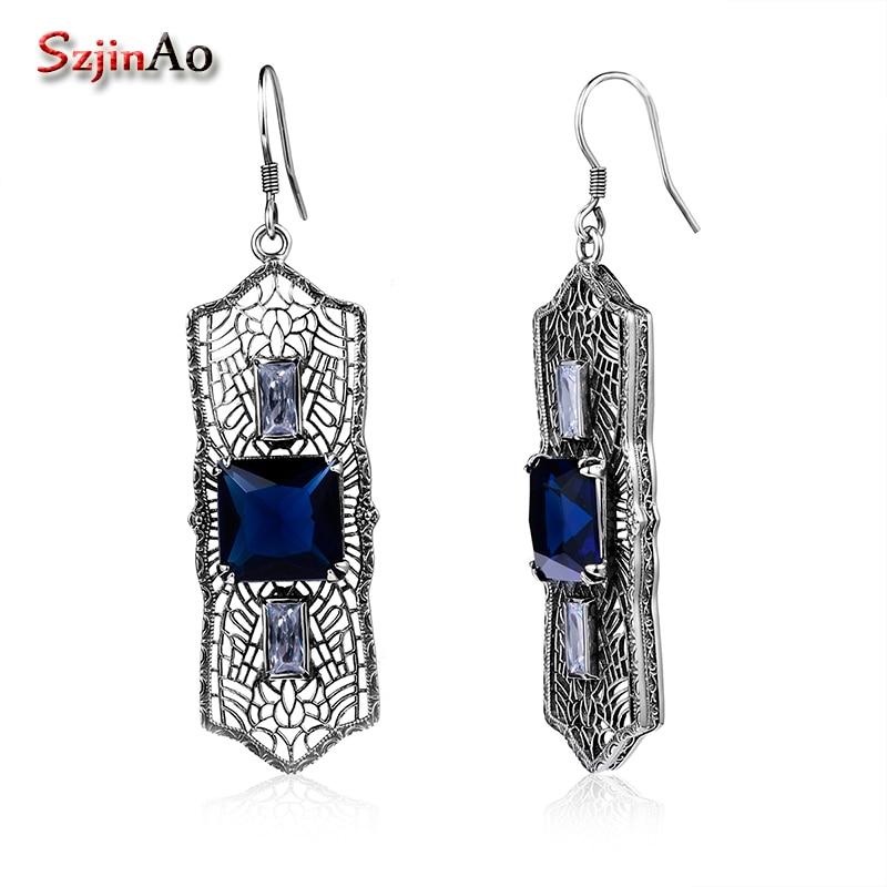 Szjinao Sapphire Fina smyckenörhängen för kvinnor 925 Sterling - Fina smycken