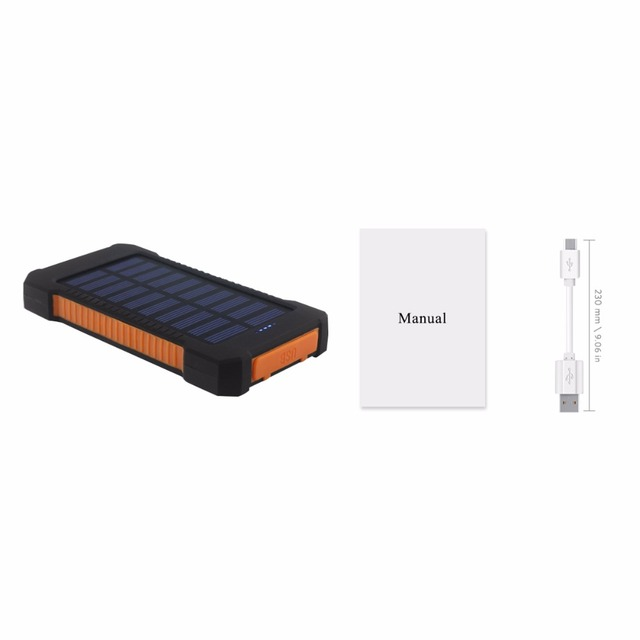 YFW Solar Charger 10000mAh Power Bank  Battery Waterproof Charging Dual USB with LED Flashlight with Compass for CellPhones