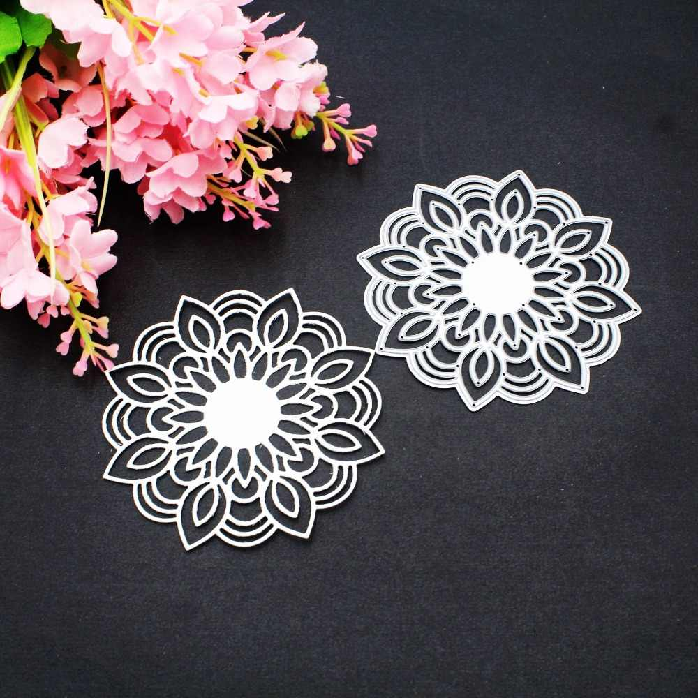 Mandala Flower Frame Metal Cutting Dies Decorative DIY Scrapbooking Steel Craft Die Embossing Paper Cards Album Stencils Dies