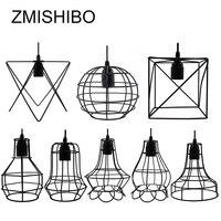ZMISHIBO Iron Cage Hanging Pendant Lights 110V 220V E27 Black Painted 8 Type Nordic Vintage Lamp