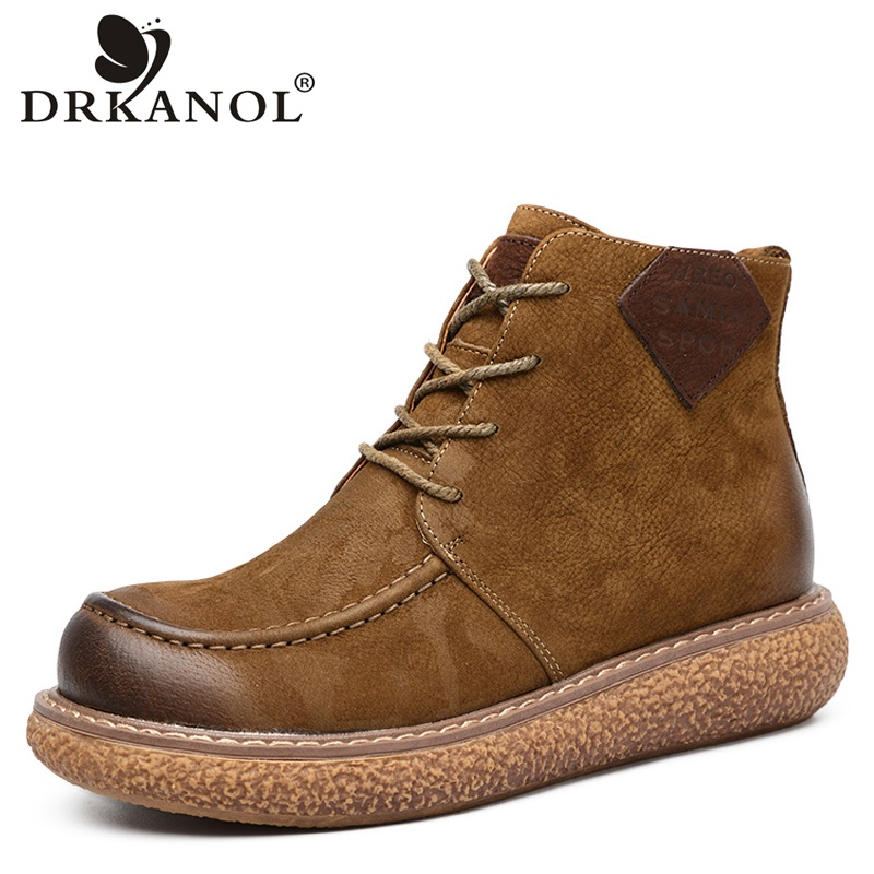 DRKANOL Handmade Vintage Women Boots Autumn 100% Genuine Leather Wedge Platform Ankle Boots For Women Casual Shoes HA1850-1
