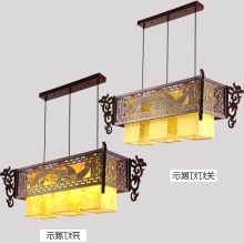 A1 Chinese style antique wooden sheepskin Chandelier Lamp three classical teahouse atmosphere restaurant head send bless