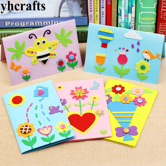 5pcslot5 Design Felt 3d Greeting Cards Craft Kits With Envolope