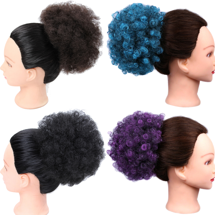 Alileader Women Synthetic Afro Hair Bun Drawstring -2299