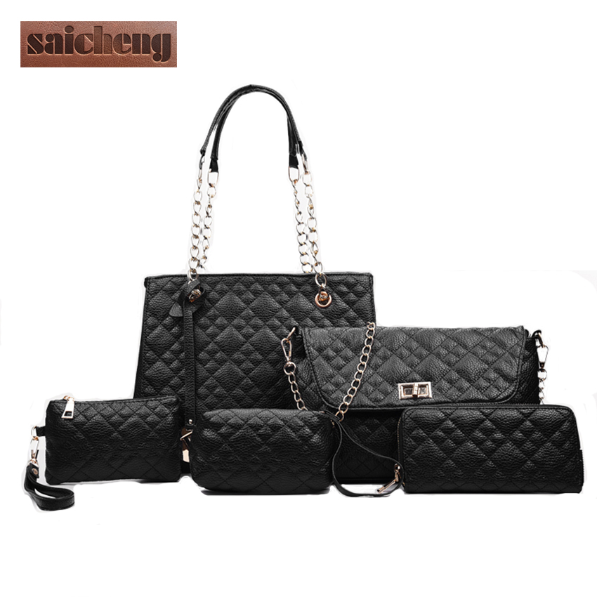 2017 Hot Luxury font b Handbags b font Women Bags Designer PU 5Pcs Bag Female Shoulder