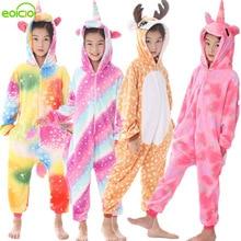 New Flannel Kids Animal Pajamas Set Boys Girls Unicorn Deer Pegasus Cosplay Winter Warm Children Sleepwear Onesie Pyjamas Hooded