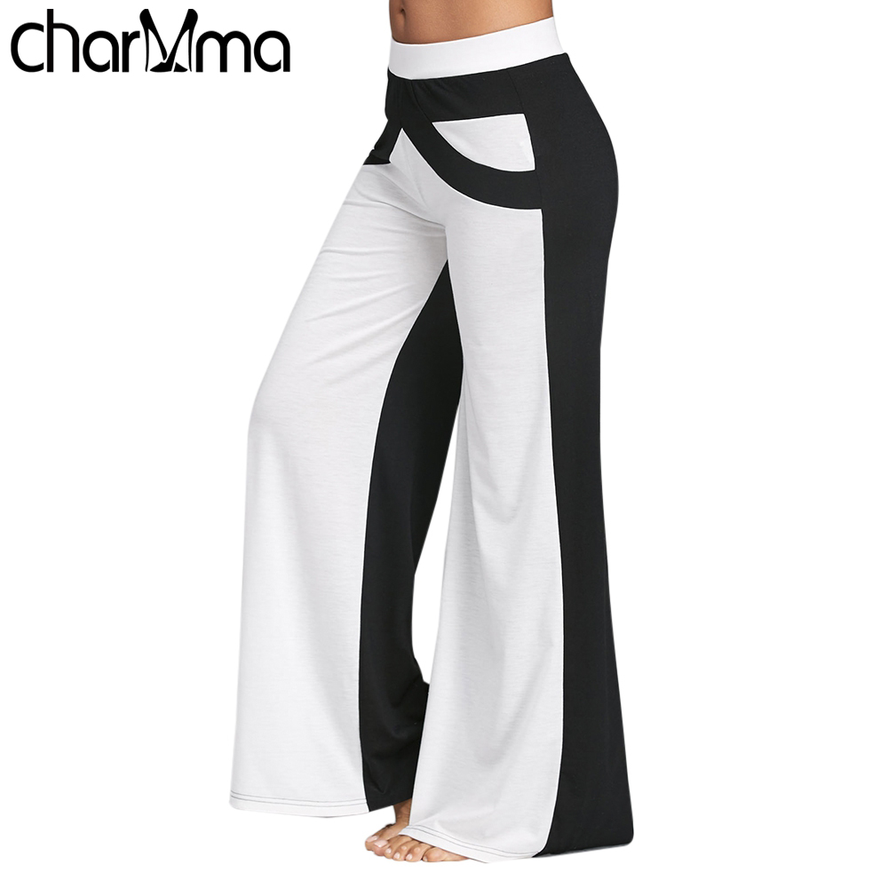 Women Wide Leg Pants With Color Block Causal Loose Straight Flat Trousers Long Female Trousers Women Pants Wide Legged Pants