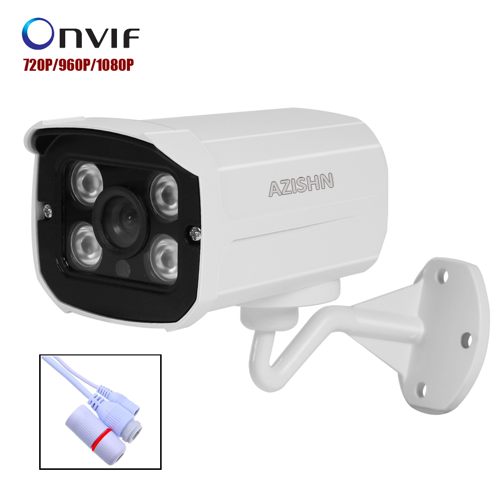 AZISHN Aluminum Metal Waterproof Outdoor Bullet IP Camera 720P 960P 1080P Security Camera CCTV 4PCS ARRAY IR LED ONVIF Camera IP outdoor waterproof white metal case 1080p bullet poe ip camera with ir led for day