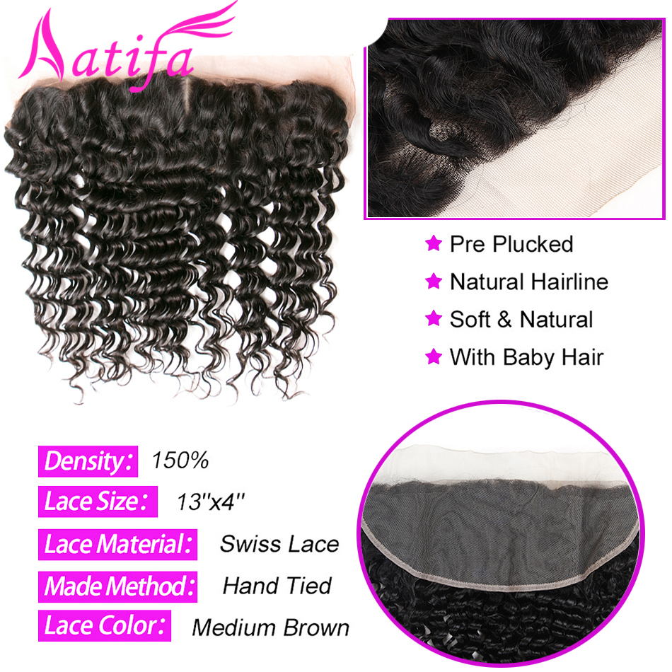 3 փաթեթ բրազիլական խորը ալիքի մազեր - Մարդու մազերը (սև) - Լուսանկար 4