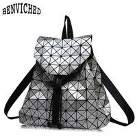 Diamond Lattice Backpacks Folding Portable Fashion Women Daily Bags Backpack New 2016 Geometric Joint Rucksack Girls