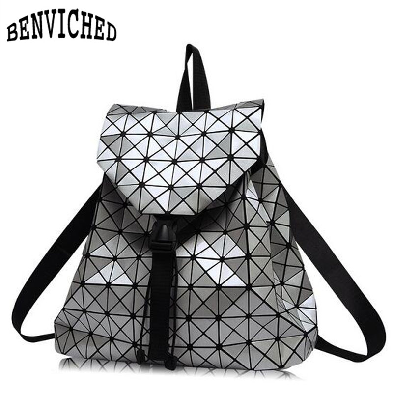 Diamond Lattice Backpacks Folding Portable Fashion Women Daily Bags Backpack New 2018 Geometric Joint Rucksack Girls School Bag